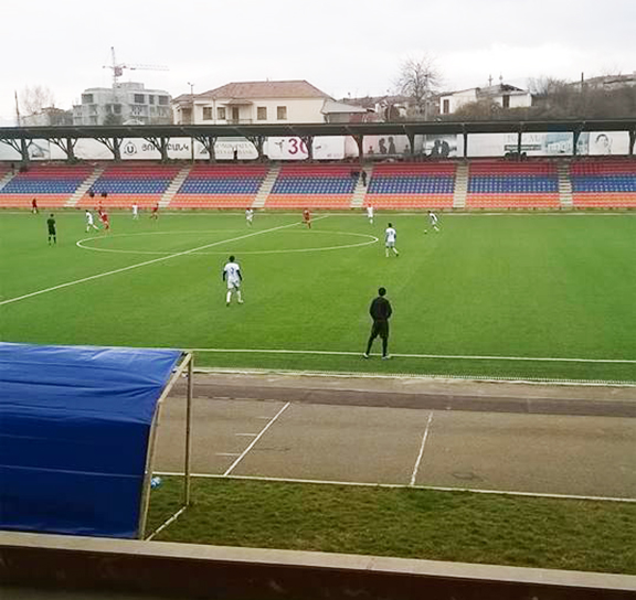 The Artsakh Footbal Team practicing at the stadium (Photo by Robert O'Connor)