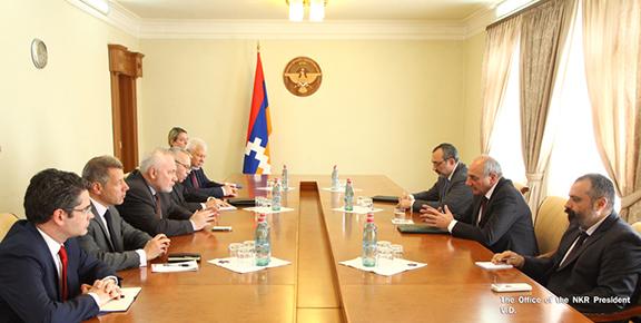 OSCE Minsk Group delegation (left) meets with Artsakh President Bako Sahakian