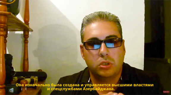 Vahan Martirosyan, one of the founders of the Armenia-Azerbaijan Peace Platform, in a YouTube video in which he denounces the organization as an Azerbaijani government sham.