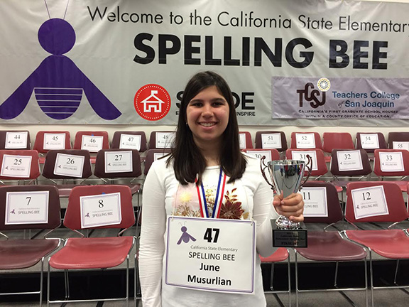 June Musurlian ties for 2nd place in the California State Elementary Spelling Bee