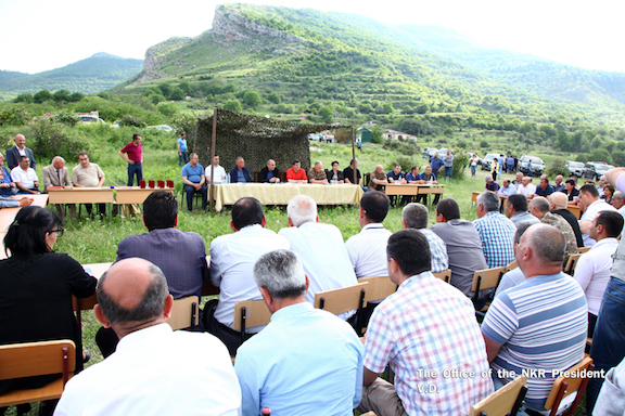Artsakh President Bako Sahakian holds a town hall meeting with residents and local representatives