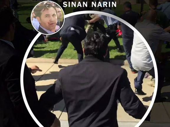 Virginia resident Sinan Narin was among two arrested by  Metropolitan Washington Police in conjunction with the May 16 Erdogan-ordered beating of peaceful protesters. The New York Times had identified Narin among the attackers in a June 4th expose.
