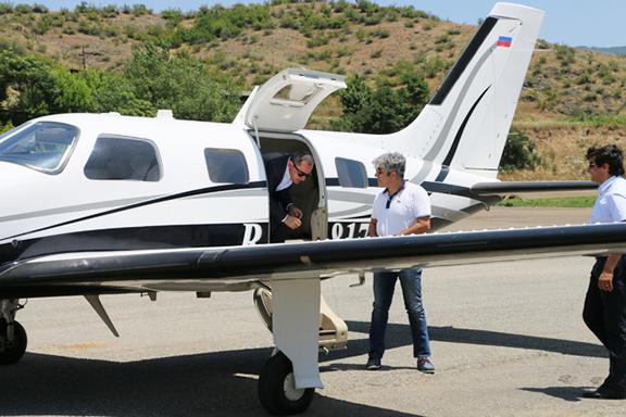 Governor of Syunki, Vahe Hakobyan, deplanes after the successful landing