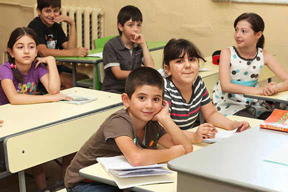 Syrian Armenian children attend a school that teaches Western Armenian