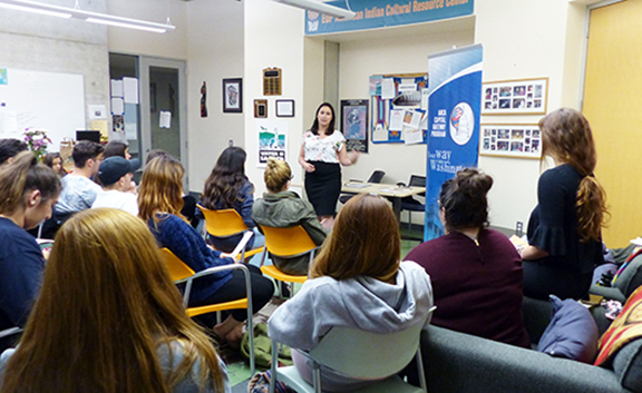 ANCA Capital Gateway Program Director Tereza Yerimyan sharing the broad range of internship and career development opportunities - in DC, LA and Sacramento - with UC Santa Barbara ASA students.