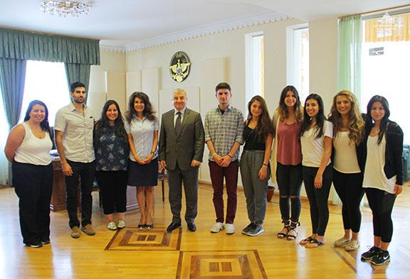 AYF delegation with Artsakh National Assembly Speaker Ashot Ghulyan