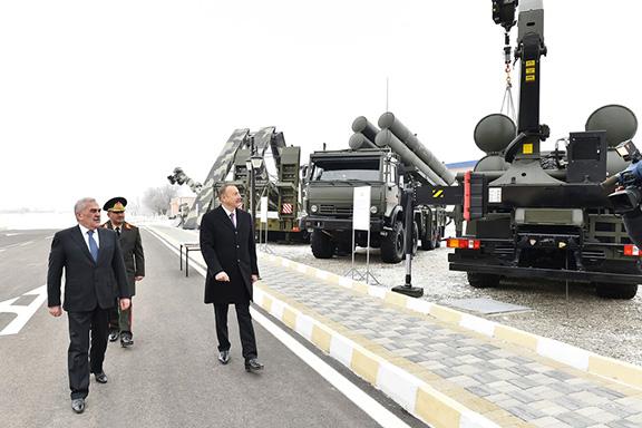 Azerbaijan's President Ilham Aliyev (right) visits a Combined Army Unit base in Nakhchivan in January 2017. (Photo: Azerbaijani Presidential Press Service)