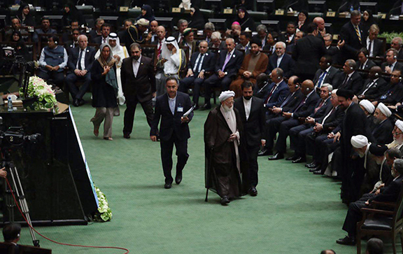 A scene from Iranian president Hassan Rouhani's inauguration in Tehran on Monday