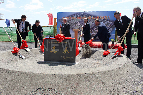 Senior Armenian and Chinese officials break ground on China's new embassy building in Yerevan on Wednesday