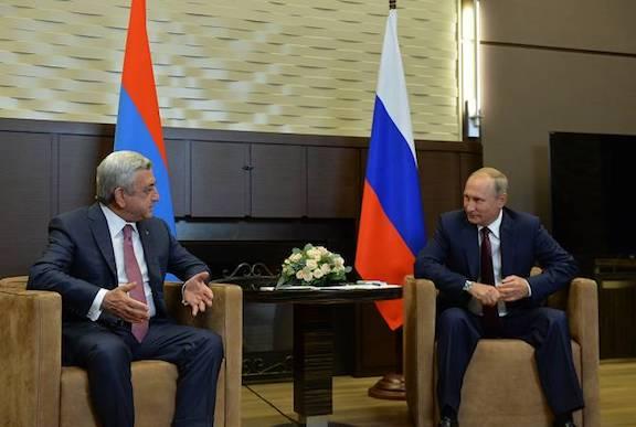 Armenia's Serzh Sarkisian and Russia's Vladimir Putin meet in Sochi on Wednesday