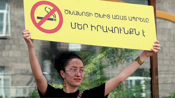 An anti-smoking advocate demonstrating in Armenia.