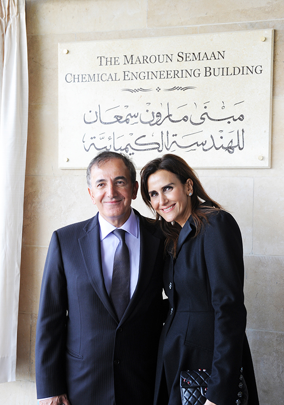 Maroun Semaan with his wife, Tania, a member of the AMIDEAST Lebanon Advisory Board at Balamand University
