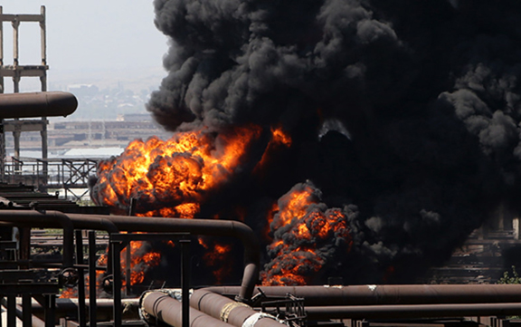A massive fire at the Nairit chemical plant was preceded by explosions