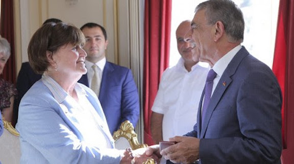 Baroness Cox is greeted by Armenia's Parliament Speaker Ara Babloyan