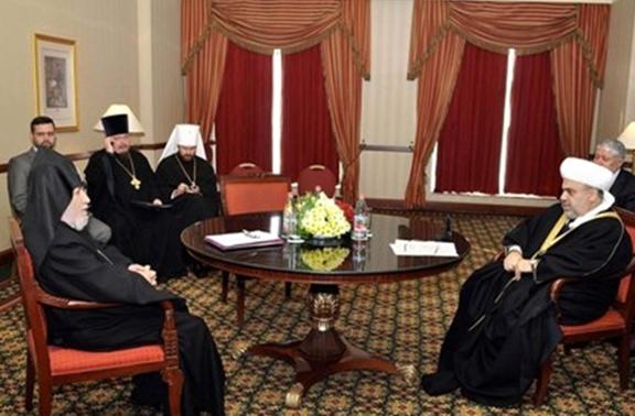 Catholicos Karekin II (left) with Azerbaijani religious leader Sheikh ul-Islam Allahshukur Pashazade at the St. Daniel's Patriarchal Monastery in Moscow on Friday