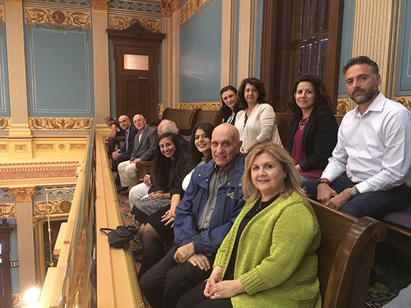 Michigan Armenian community leaders in the Senate Chambers for the State Senate recognition of Artsakh Republic.