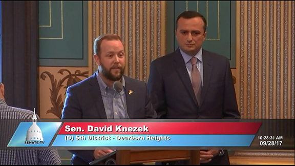 Sen. David Knezek introduces NKR Representative to the U.S. Robert Avetisyan on the MI Senate floor as they vote to recognize Artsakh's independence
