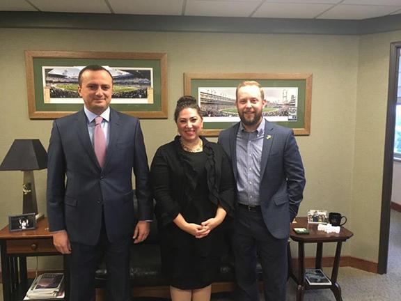 Lead sponsor of Republic of Artsakh recognition measure Sen. David Knezek with NKR Representative to the U.S. Robert Avetisyan and ANC of Michigan Chair Lara Nercessian
