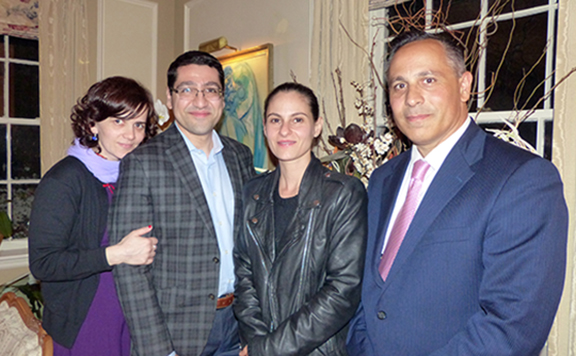 Anca Tilea, Dr. Vahakn Shahinian and Ms. Nayiri Saghdejian with ANCA Chairman Raffi Hamparian at a reception in support of the ANCA's youth empowerment programs.