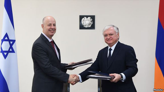 RA Minister of Foreign Affairs Edward Nalbandian and Regional Cooperation Minister of Israel Tzachi Hanegbi signed agreements on cooperation