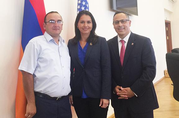 House Foreign Affairs Committee members Rep. Tulsi Gabbard (D-HI) with Artsakh Parliamentarian Lernik Hovhannisyan and ANCA Chairman Raffi Hamparian at the Republic of Artsakh National Assembly.
