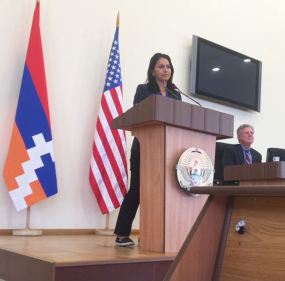 U. S. House Foreign Affairs Committee member, Rep. Tulsi Gabbard (D-HI) addressing members of the Republic of Artsakh National Assembly.