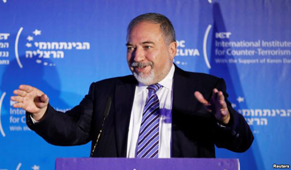 Israel's Defence Minister Avigdor Lieberman speaks during the International Institute for Counter Terrorism's 17th annual conference in Herzliya, September 11, 2017