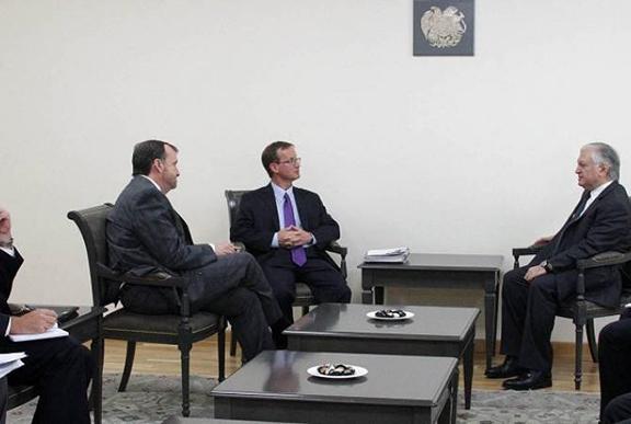 From left to right: US Ambassador to Armenia Richard Mills Jr., Ed Gresser, and Edward Nalbandian