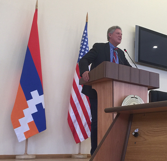 Congressional Armenian Caucus Co-chair and longtime friend of the ANC of New Jersey Rep. Frank Pallone (D-NJ) addressing members of the Republic of Artsakh National Assembly.