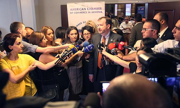 Ambassador Richard Mills addressing the press. (Photo: U.S. Embassy of Armenia)