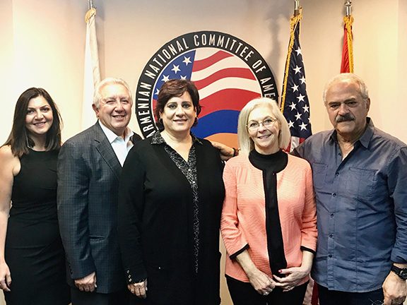 Dr. Kathie Allen meets ANCA-WR leadership at organization's headquarters to discuss Armenian-American priorities and her race for Congress. From left:  Consultant for Dr. Allen's campaign and former ANCA-WR Executive Director, Elen Asatryan; ANCA-WR Board member Berdj Karapetian; ANCA-WR Chair Nora Hovsepian; Dr. Kathie Allen; and ANCA-WR Advisory Board member Levon Kirakosian.