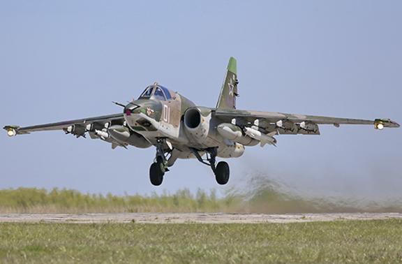 An SU-25 assault airplane