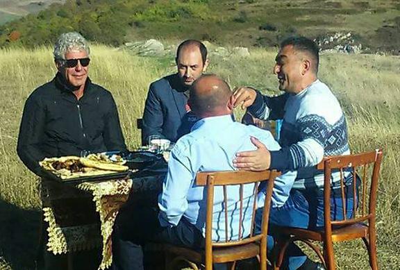 Anthony Bourdain enjoys a meal in Shushi, Artsakh