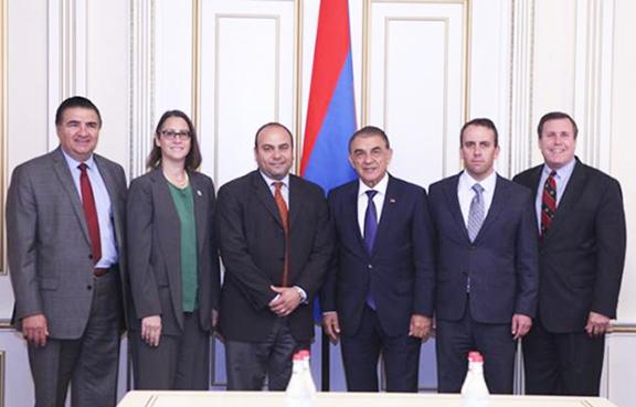 Members of the California legislative delegation with Parliament Speaker Ara Babloyan
