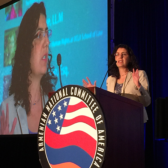 Kate Nahapetian, Executive Director of the Armenian Legal Center, announces Property Documentation Database Project at the ANCA-WR  Grassroots Conference