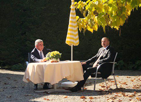 Presidents Serzh Sarkisian and Ilham Aliyev held a 45-minute one-on-one meeting on Oct. 16