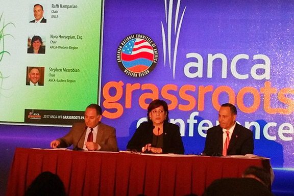 """From left, Setve Mesrobian of the ANCA-ER, Nora Hovsepian of ANCA-WR and Raffi Hamparian, chair of the  ANCA during the """"Power of the Grassroots"""" panel"""