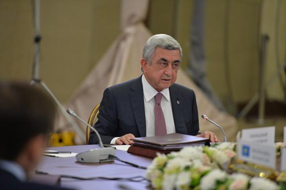 President Serzh Sarkisian addressing the CIS Heads of States (Photo: Office of the President of Armenia)