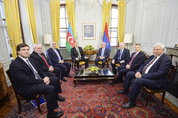 Armenian and Azerbaijani presidents, Serzh Sarkisian and Ilham Aliyev meet in Geneva on Monday