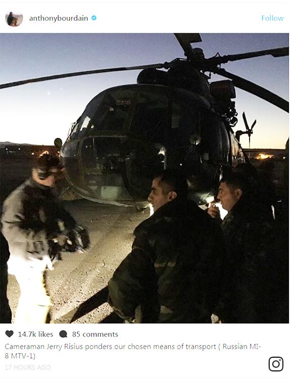 Bourdain's Instagram post en route to Artsakh