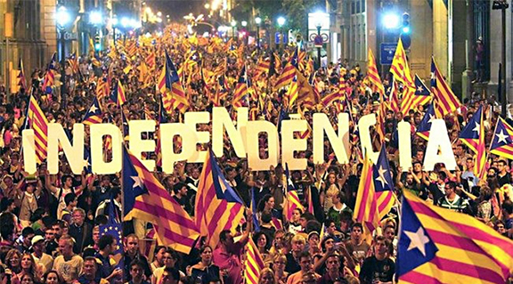 A rally for independence in Catalonia