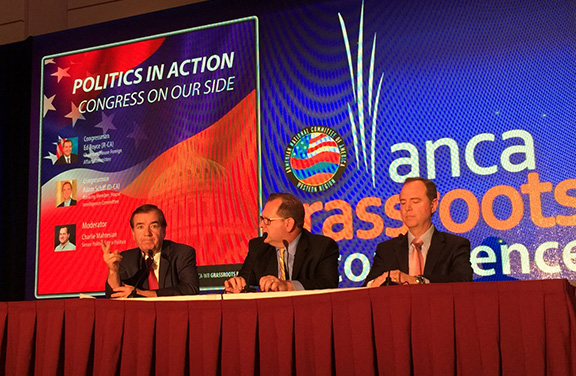 """House Foreign Affairs Committee Chairman Ed Royce (R-CA) and House Intelligence Committee Ranking Member Adam Schiff (D-CA) headline the ANCA Grassroots Conference Panel """"Politics in Action: Congress on Your Side"""", moderated by Politico Senior Politics Editor Charlie Mahtesian."""