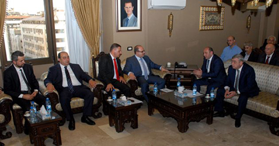 Armenian economic delegation headed by Minister of Economic Development and Investments Suren Karayan meeting with Syrian Minister of Economy and Foreign Trade Mohammad Samer al-Khalil (Photo: SANA)