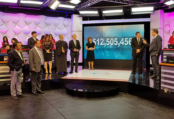 At the conclusion of the 2017 Armenia Fund Telethon the screen displays the amount raised