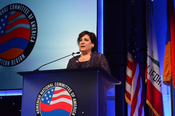 ANCA-WR Board Chairwoman Nora Hovsepian presents remarks during the organization's annual gala last month