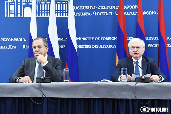 Armenia's Foreign Minister Edward Nalbandian (right) and his Russian counterpart Sergey Lavrov gave a joint press conference Tuesday