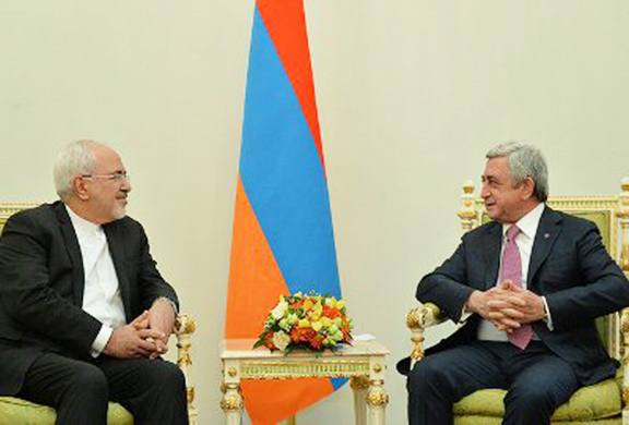 While in Yerevan, Iran's Foreign Minister Mohammad Javad Zarif met with President Sarkisian