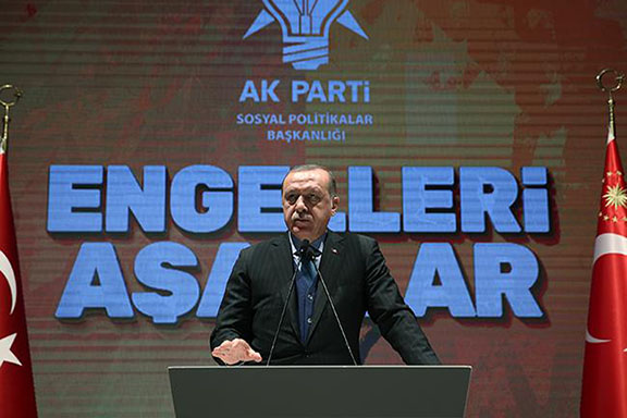 Turkish President Recep Tayyip Erdogan speaks at his party's conference