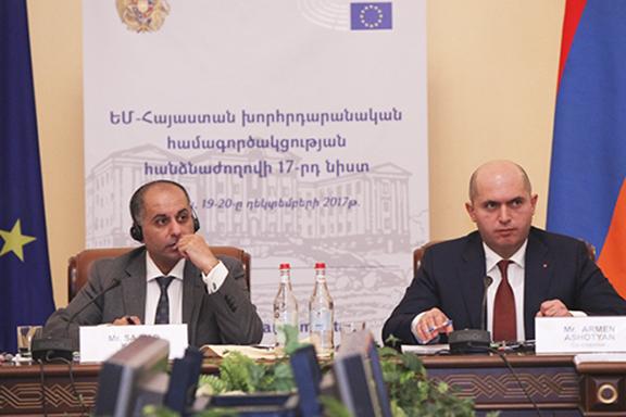 Sajjad Karim, the co-chair of the EU-Armenia Parliamentary Cooperation Committee with Armenian member of Parliament Armen Ashotyan