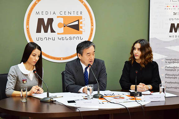 Japan's Ambassador to Armenia Eiji Taguchi (center) during a press event on Monday